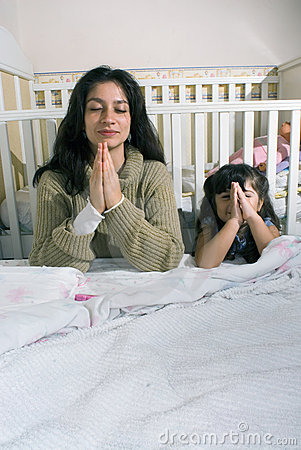 Mother and Daughter Saying Prayer-Vertical