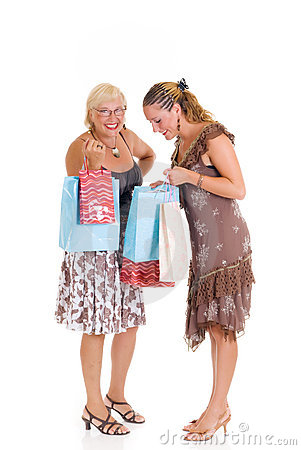 Mother, daughter shopping