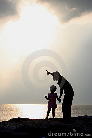 Mother and Daughter Silhouettes