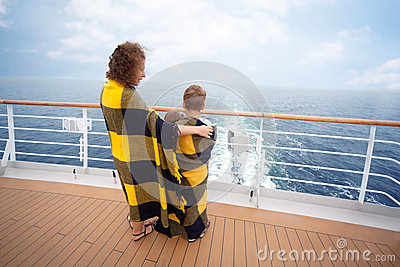 Mother, daughter son on board ship