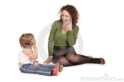 Mother and daughter talk on the cell
