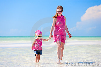Mother and daughter on vacation