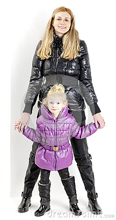 Mother and daughter wearing jackets
