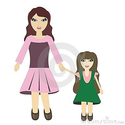 Mother and daughter on white