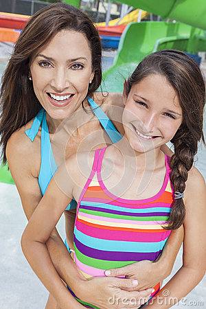 Mother Daughter Woman Girl Child Family Water Park