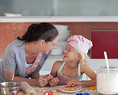 Mother and Daugther cooking in the Kitchen