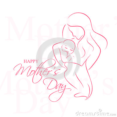 Free Mother  Day - Elegant Vector Layout With Contoured Mother An Child Silhouette Stock Image - 72293881