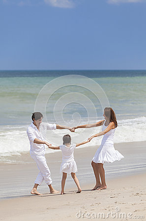 Mother, Father & Child Family Playing At Beach