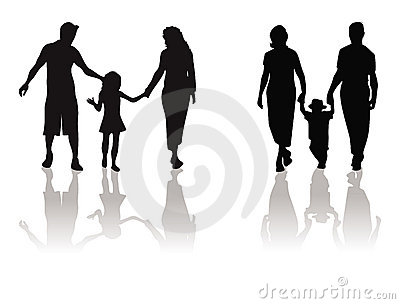 Mother, father, child silhouette