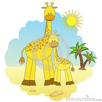 Mother-giraffe and baby-giraffe.