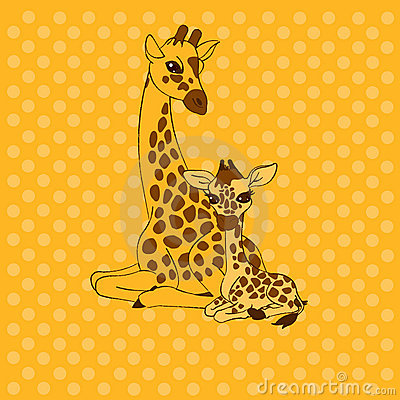 Mother-giraffe and baby-giraffe place card