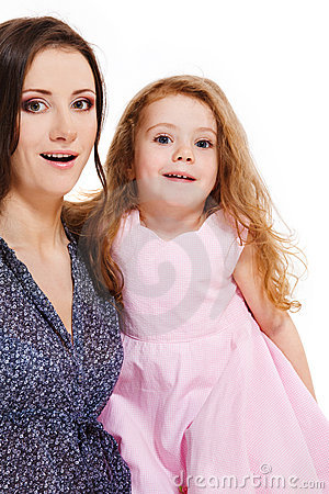 Mother and girl looking astonished