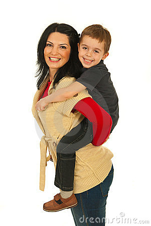 Mother give piggyback to her son