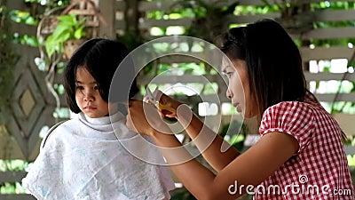Mother Hair Dresses Her Boy Mom Hair Dresses Her Kid Son