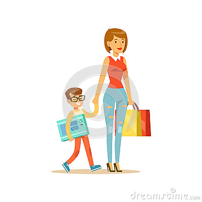 Mother and happy smiling son with shopping bags colorful character vector Illustration Vector Illustration