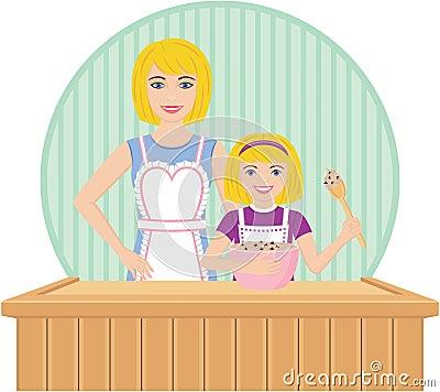 Mother Helps Daughter Bake