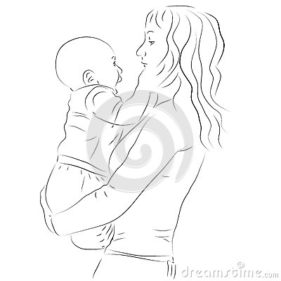 Mother and her baby sketch