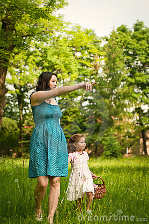 Mother with her child having great time outdoors