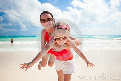 Mother with her cute daughter enjoy the holiday