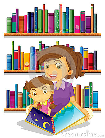 A mother with her daughter reading a book