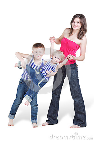 Mother and her oldest son hold younger brother