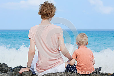 Mother and her son at the beach