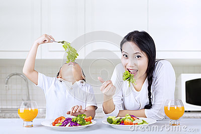 Healthy lunch for mother and boy