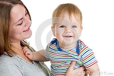 Mother holding baby boy isolated on white