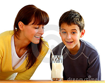 Mother and kid with milk
