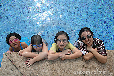 Mother and kids in the pool