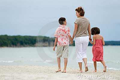 Mother and kids walking