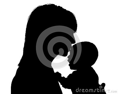 Mother kissing her newborn child silhouette