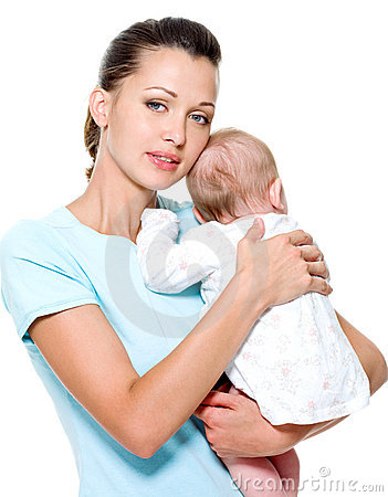 Mother with  newborn child on hands