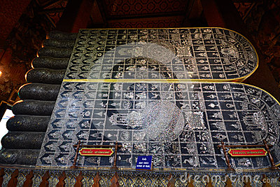 Mother-of-pearl inlaid on reclining Buddha s soles