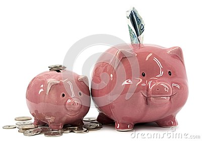 Mother piggy bank with piglet