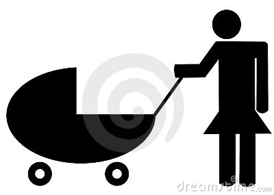 Mother pushing buggy