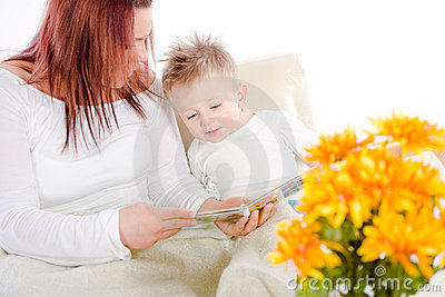 Mother reading for baby
