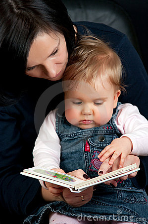 Mother reading baby story