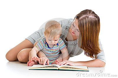 Mother reading book her baby boy