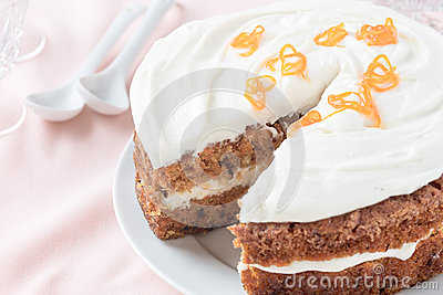 Mother's day carrot cake, homemade moist and sweet layer cake with ...