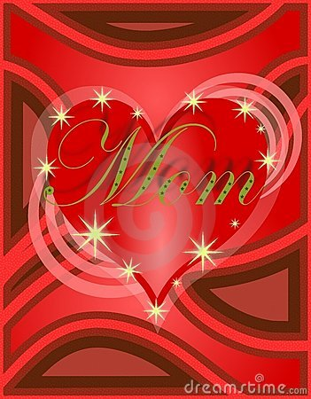 Mothers day greeting card with heart in red