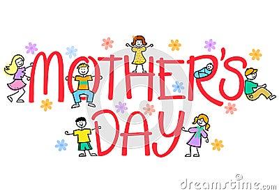 Mother's Day Kids/eps Vector Illustration