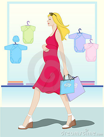 Mother shopping baby s clothes