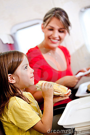 Mother and son in the airplane