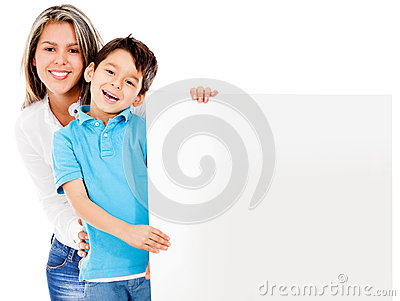 Mother and son with banner