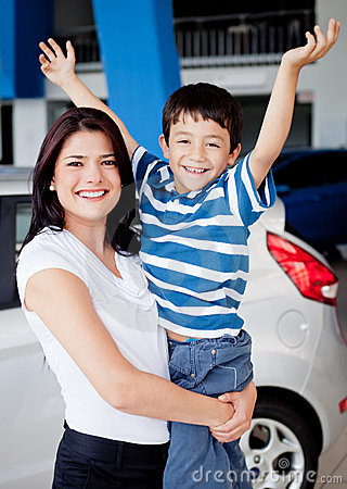 Mother and son buying car