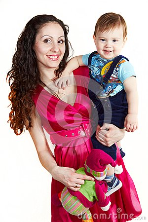 Mother with son carring on hands