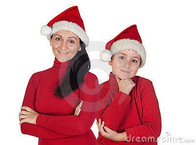 Mother and son with Christmas cap