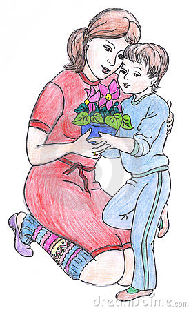 Mother and son, drawing