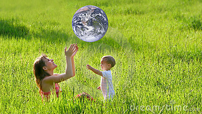 Mother and son with earth-like ball